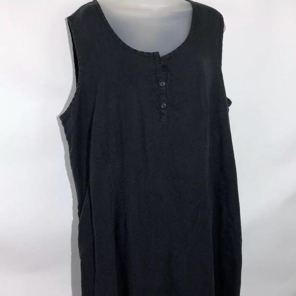 Flax Dresses Womens Black Linen Shift Dress Size 20 22 Poshmark
